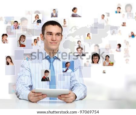 Businessman making presentation against social network bacjkground #97069754