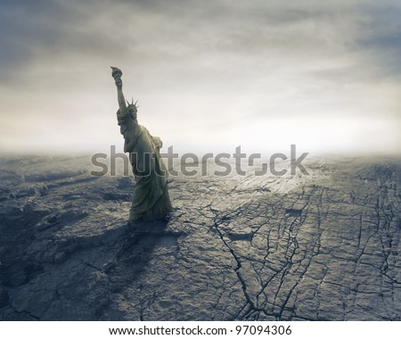 Statue of Liberty on apocalyptic background Royalty-Free Stock Photo #97094306