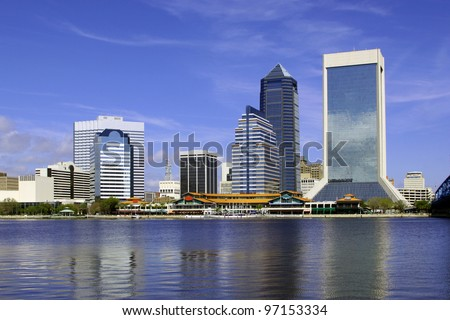 Beautiful view of Jacksonville Landing in Jacksonville, Florida at the St. John's River