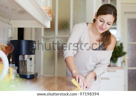 Young woman doing housework, cleaning the kitchen #97198394