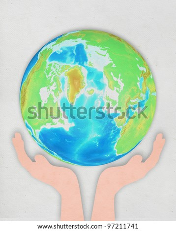 hand holding globe ,paper art design ,save the earth concept #97211741