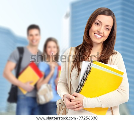 Young smiling  student woman with book. University education. #97256330