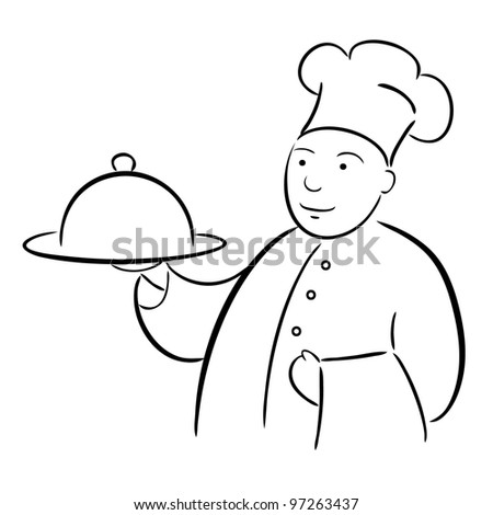 chef cook with tray calligraphy drawing