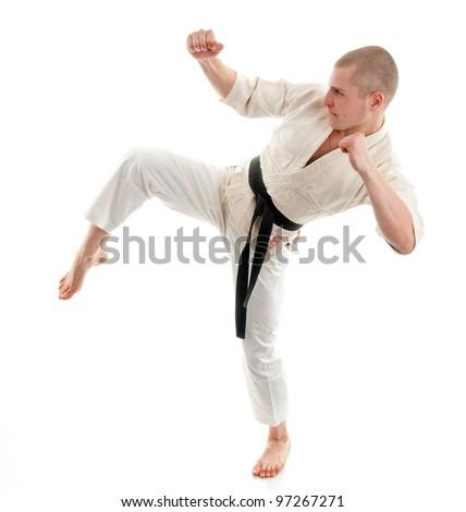 Karate. Man in a kimono on the white background #97267271