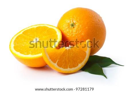 Orange fruit isolated on white background + Clipping Path #97281179