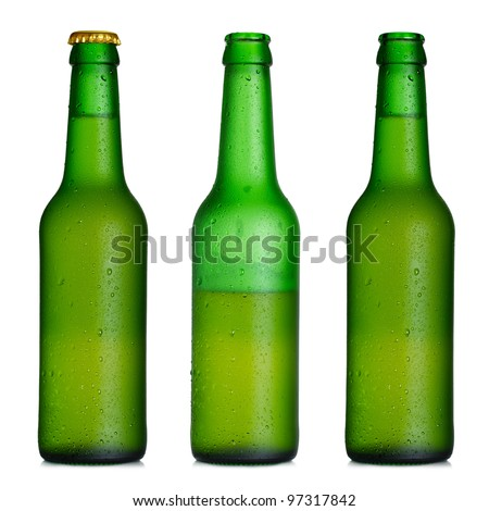 Beer bottle closed, half-full and opened Royalty-Free Stock Photo #97317842