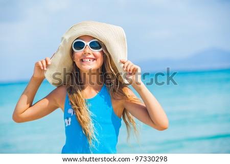 Cute teens girl in big hat relax ocean background #97330298