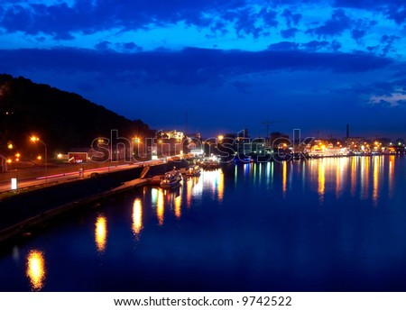 river quay in the night city #9742522