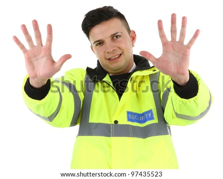 Security guard holding his hands out #97435523