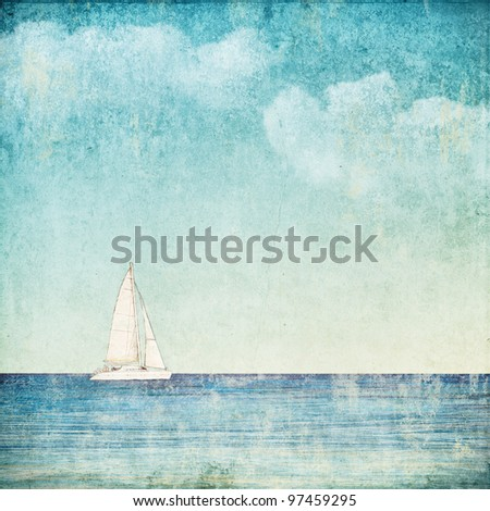 vintage background with a sailboat