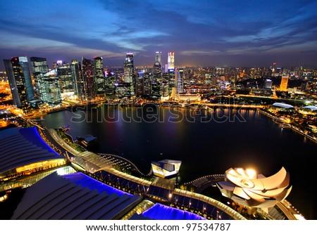 Singapore city skyline at night #97534787