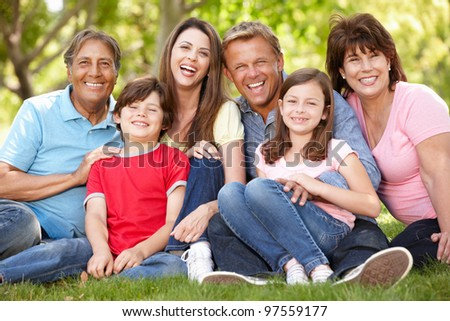 Multi generation Hispanic family in park #97559177