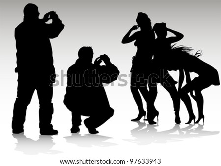 Vector image of people with cameras and model #97633943