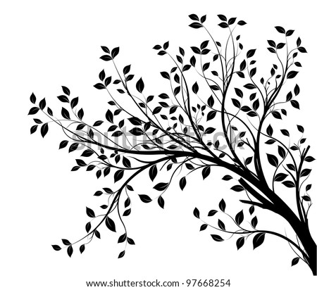 tree branches silhouette isolated over white background with lot of leaves, border of a page