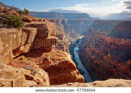 Toroweap point at sunrise, Grand Canyon National Park. Royalty-Free Stock Photo #97706066