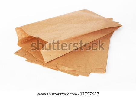 Brown paper bags on white background #97757687