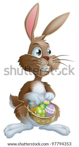 Easter bunny rabbit holding Easter basket full of decorated Easter eggs