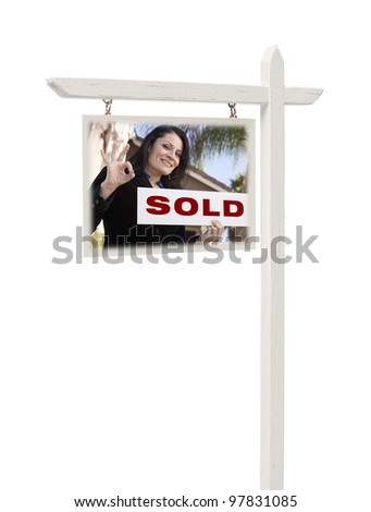 Isolated Real Estate Sign with Clipping Path - Hispanic Female Agent and Sold Sign.