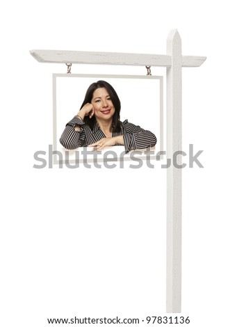 Isolated Real Estate Sign with Clipping Path - Smiling Hispanic Woman.