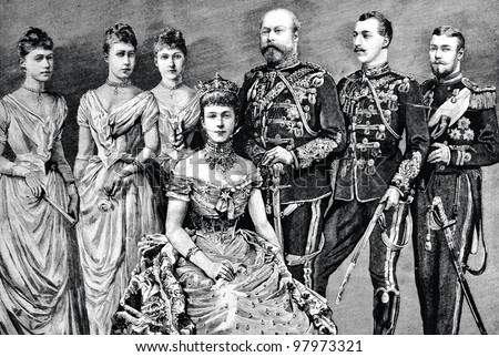 "The family of Prince of Wales (UK): Engraving by Shyubler. Published in magazine ""Niva"", publishing house A.F. Marx, St. Petersburg, Russia, 1888"