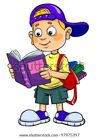 Color vector illustration of a cartoon kid reading a book.