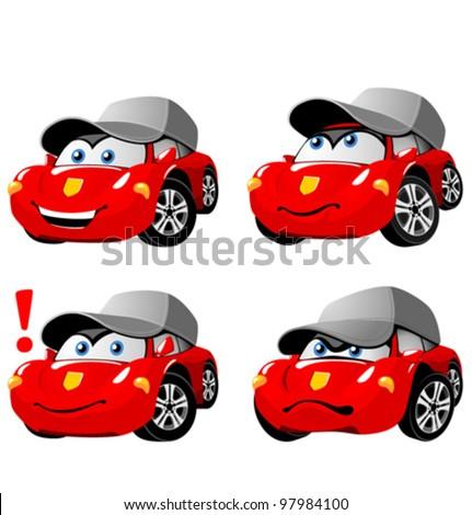 Funny cartoon car emotions