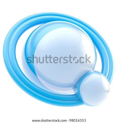 Copyspace advertisement plate made of two glossy blue spheres and space for product image and price #98016353