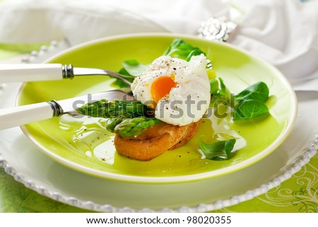 Poached egg and green asparagus on toast #98020355