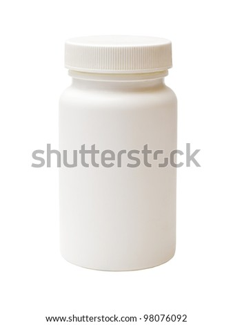 white plastic medicine vial isolated on white background #98076092