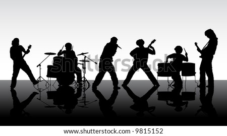 Rock band. Silhouettes of six musicians. Vector illustration. #9815152