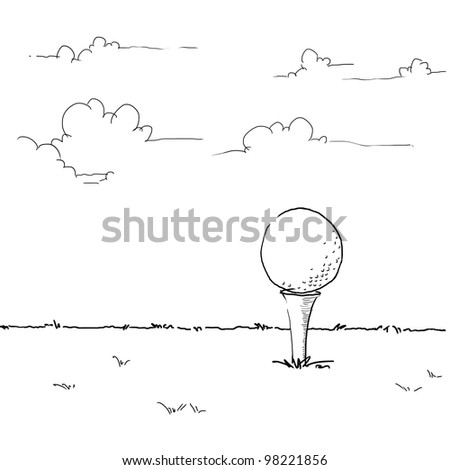 sketching golf ball on tee off area