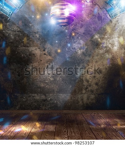 Disco ball in a grunge room