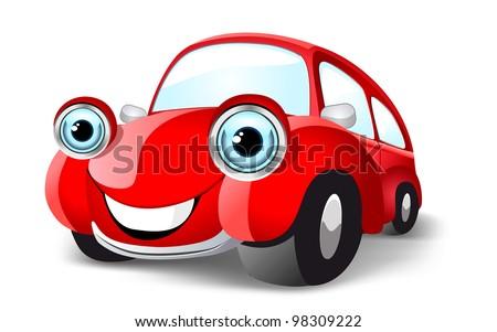 Funny red car. Vector illustration