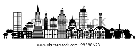 San Francisco City Skyline Panorama Black and White Silhouette Clip Art Illustration