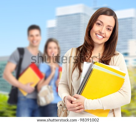 Young smiling  student woman with book. University education. #98391002
