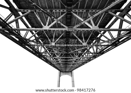 Bridge structure photographed from under. Black and white photography isolated on white background.