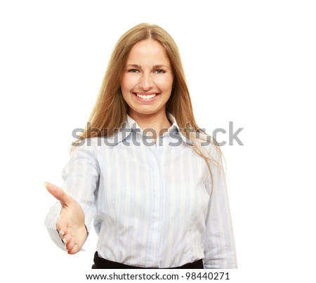 Happy and friendly businesswoman offering handshake isolated on white #98440271