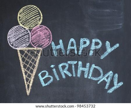 Happy birthday congratulation written by a chalk on a blackboard