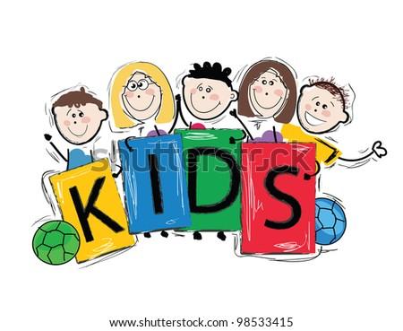 Kids holding cartoons