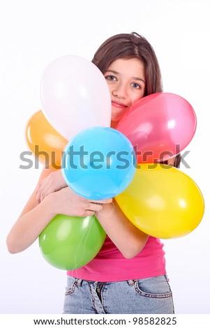 Teen girl with colorful ballons #98582825
