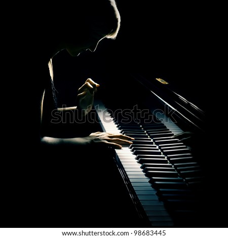 Pianist musician piano music playing. Musical instrument grand piano with woman performer.