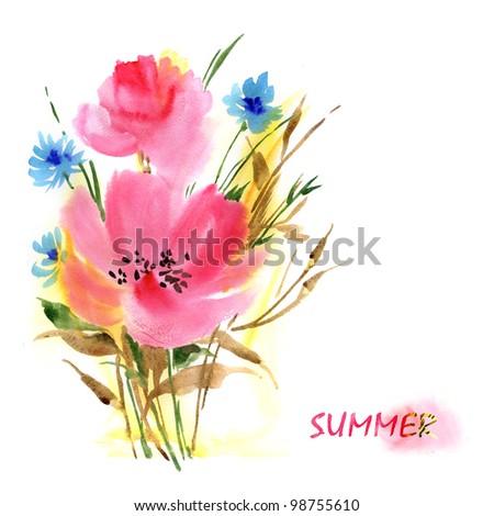 Watercolor: Summer Bouquet