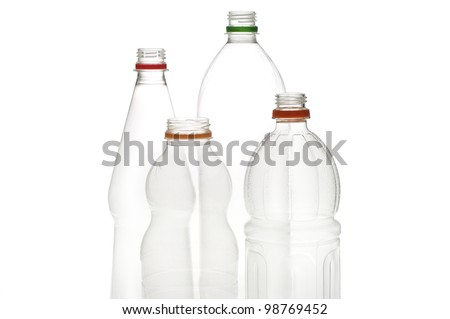 Empty plastic drinking bottles ready for recycling. #98769452