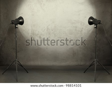 photo studio in old grunge room with concrete wall, urban background #98814101