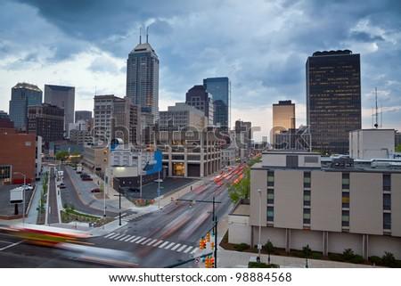 Indianapolis. Image of the Indianapolis skyline with busy traffic and dramatic sky.
