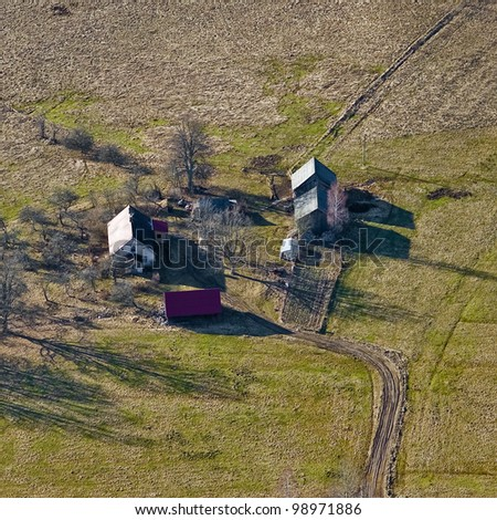 aerial view over the isolated cottage #98971886