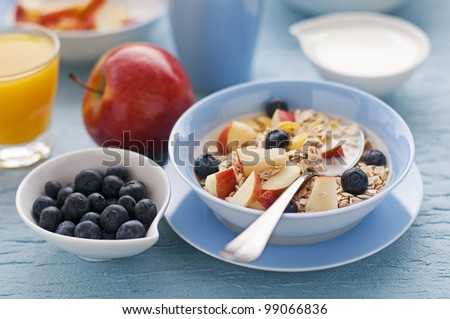 Healthy breakfast on the table close up #99066836