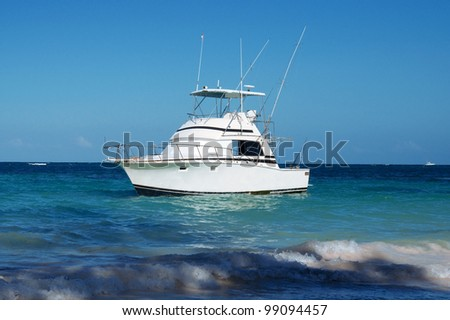 pleasure yacht anchored off the coast of the Dominican Republic. ocean tropical #99094457