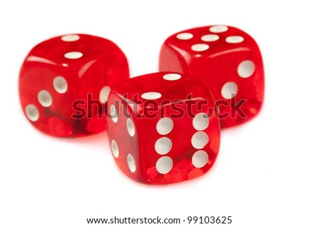 Three red dices on a white surface #99103625