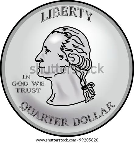 Clip Art Illustration of a quarter.